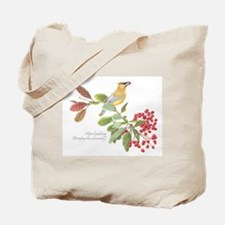 Cedar Waxwing and berries Tote Bag