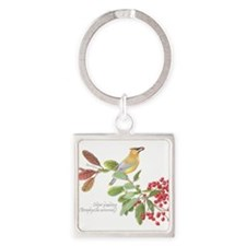Cedar Waxwing and berries Keychains