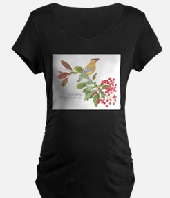 Cedar Waxwing and berries Maternity T-Shirt