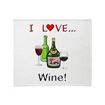 I Love Wine Throw Blanket