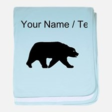 Custom Bear Walking Silhouette baby blanket
