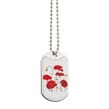 Red Poppies Dog Tags
