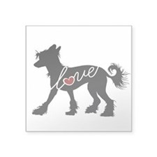 """Chinese Crested Dog Square Sticker 3"""" x 3"""""""