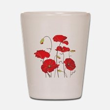 Red Poppies Shot Glass