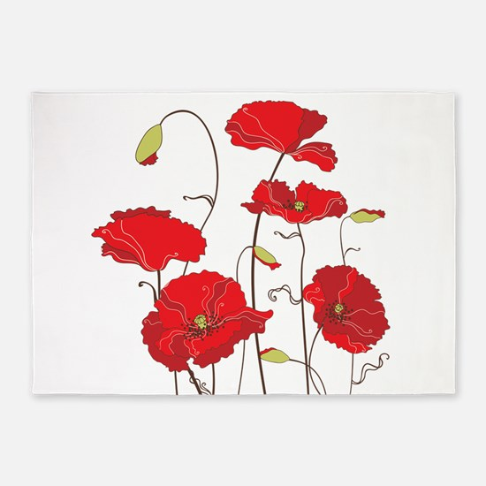 Red Poppies 5'x7'Area Rug