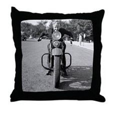 Girl Riding Motorcycle, 1937 Throw Pillow