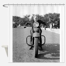 Girl Riding Motorcycle, 1937 Shower Curtain
