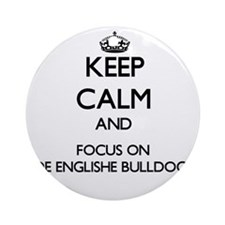 Keep calm and focus on Olde Engli Ornament (Round)