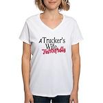 A Trucker's Wife - Faithful Women's V-Neck T-Shirt