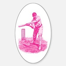 Pink Cricket Pitch Oval Stickers