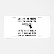 Ammunition Warning Shot Aluminum License Plate