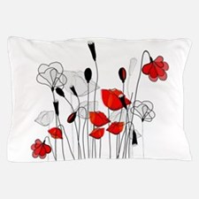 Red Poppies and Hearts Pillow Case