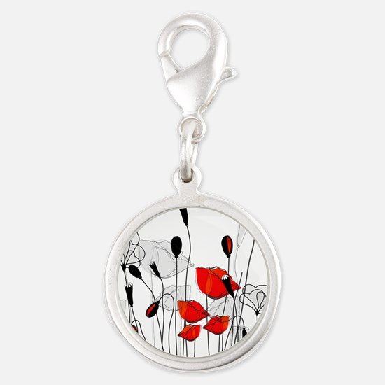 Red Poppies and Hearts Charms