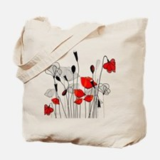 Red Poppies and Hearts Tote Bag
