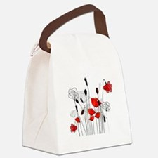Red Poppies and Hearts Canvas Lunch Bag