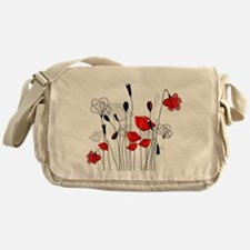 Red Poppies and Hearts Messenger Bag