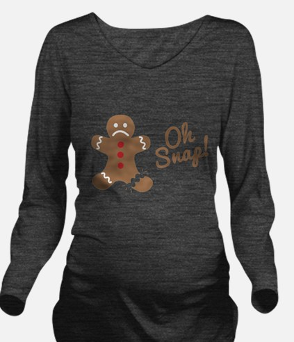 Oh Snap Gingerbread Man Long Sleeve Maternity T-Sh