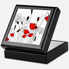 Red Poppies and Hearts Keepsake Box