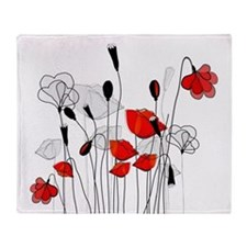 Red Poppies and Hearts Throw Blanket