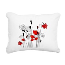 Red Poppies and Hearts Rectangular Canvas Pillow