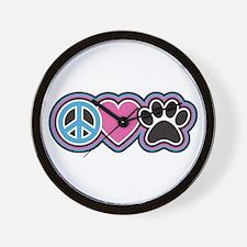 Peace Love Paws Wall Clock