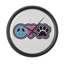 Peace Love Paws Large Wall Clock