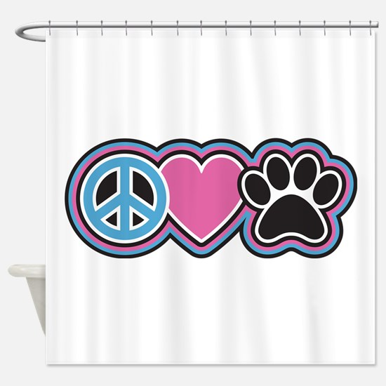 Peace Love Paws Shower Curtain
