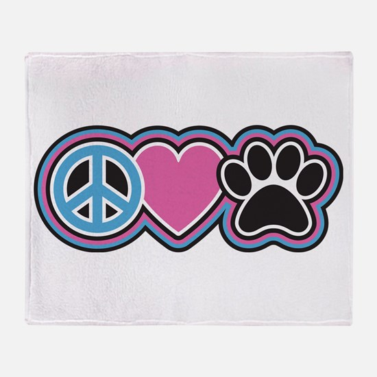 Peace Love Paws Throw Blanket
