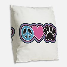 Peace Love Paws Burlap Throw Pillow