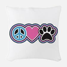 Peace Love Paws Woven Throw Pillow
