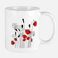 Red Poppies and Hearts Mugs