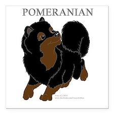 """Black & Tan Pomeranian Square Car Magnet 3"""" x 3"""""""