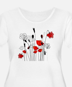 Red Poppies and Hearts Plus Size T-Shirt