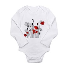 Red Poppies and Hearts Body Suit