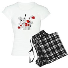 Red Poppies and Hearts Pajamas