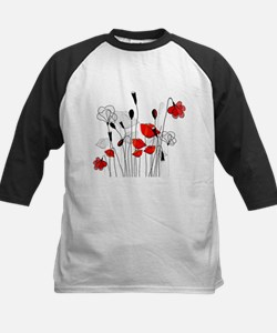 Red Poppies and Hearts Baseball Jersey