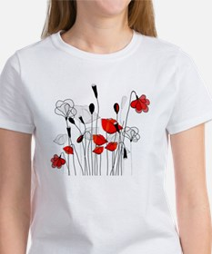 Red Poppies and Hearts T-Shirt