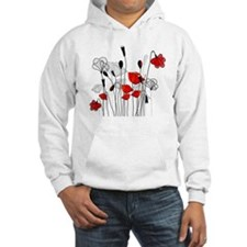 Red Poppies and Hearts Hoodie