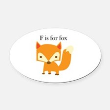 F Is For Fox Oval Car Magnet