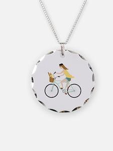 Paris Bicycle Girl Necklace