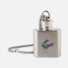Dive Bombing Iridescent Dragonflies Flask Necklace