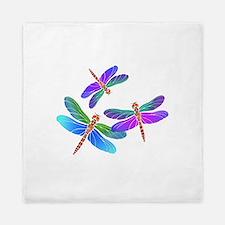 Dive Bombing Iridescent Dragonflies Queen Duvet