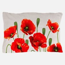 Painted Red Poppies Pillow Case