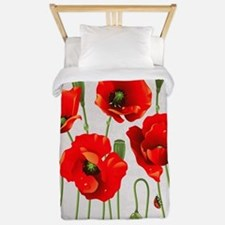 Painted Red Poppies Twin Duvet