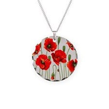 Painted Red Poppies Necklace Circle Charm