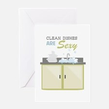 Clean Dishes Sexy Greeting Cards