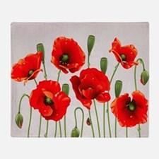 Painted Red Poppies Throw Blanket