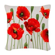 Painted Red Poppies Woven Throw Pillow