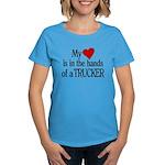 My Heart in the Hands Trucker Women's Dark T-Shirt