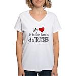 My Heart in the Hands Truck Women's V-Neck T-Shirt